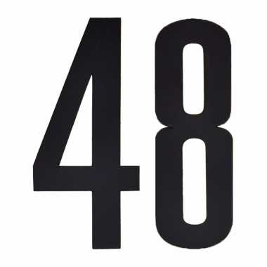 Plakcijfers 48 zwart 10 cm
