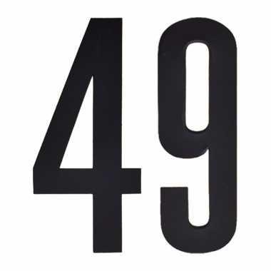 Plakcijfers 49 zwart 10 cm