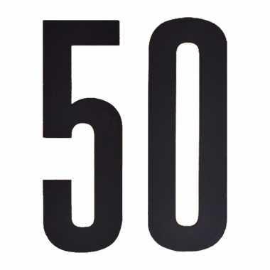 Plakcijfers 50 zwart 10 cm