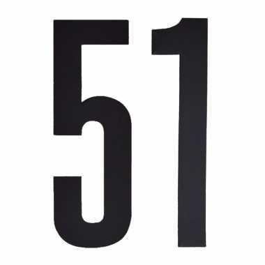 Plakcijfers 51 zwart 10 cm