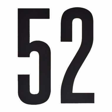 Plakcijfers 52 zwart 10 cm