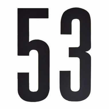 Plakcijfers 53 zwart 10 cm
