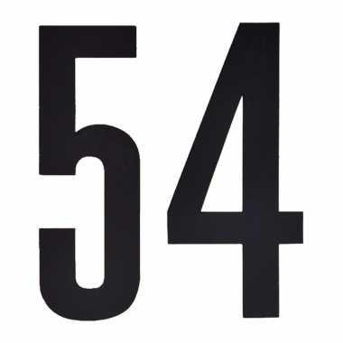 Plakcijfers 54 zwart 10 cm
