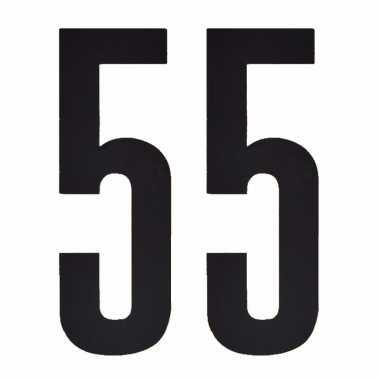 Plakcijfers 55 zwart 10 cm