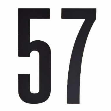 Plakcijfers 57 zwart 10 cm