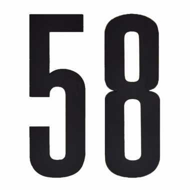 Plakcijfers 58 zwart 10 cm