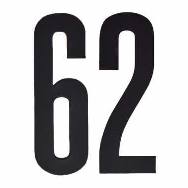 Plakcijfers 62 zwart 10 cm