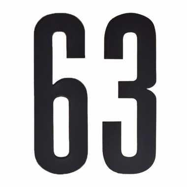 Plakcijfers 63 zwart 10 cm