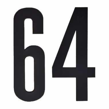 Plakcijfers 64 zwart 10 cm