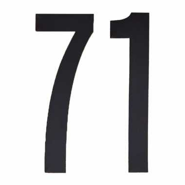 Plakcijfers 71 zwart 10 cm