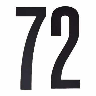 Plakcijfers 72 zwart 10 cm