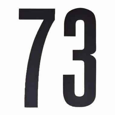 Plakcijfers 73 zwart 10 cm