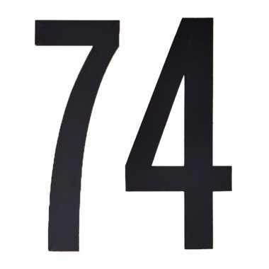 Plakcijfers 74 zwart 10 cm