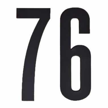 Plakcijfers 76 zwart 10 cm