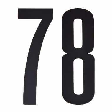 Plakcijfers 78 zwart 10 cm