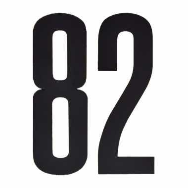 Plakcijfers 82 zwart 10 cm