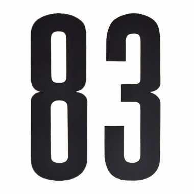 Plakcijfers 83 zwart 10 cm