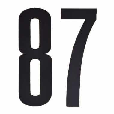 Plakcijfers 87 zwart 10 cm