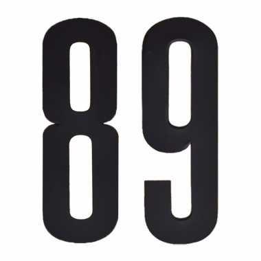 Plakcijfers 89 zwart 10 cm