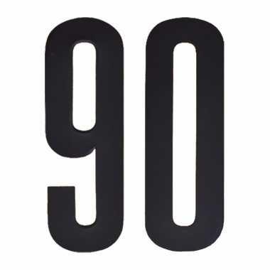 Plakcijfers 90 zwart 10 cm