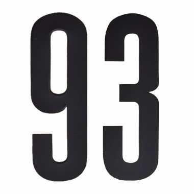 Plakcijfers 93 zwart 10 cm