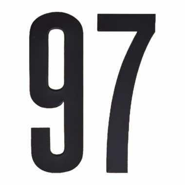 Plakcijfers 97 zwart 10 cm