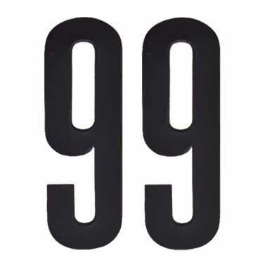 Plakcijfers 99 zwart 10 cm
