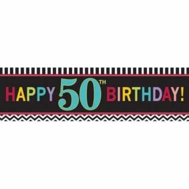 Plastic 50 jaar gevelvlag 165 cm