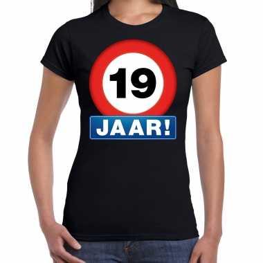 Stopbord 19 jaar verjaardag t-shirt zwart voor dames