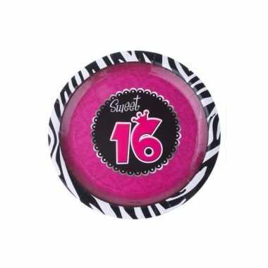 Sweet 16 wegwerp bordjes 8 stuks