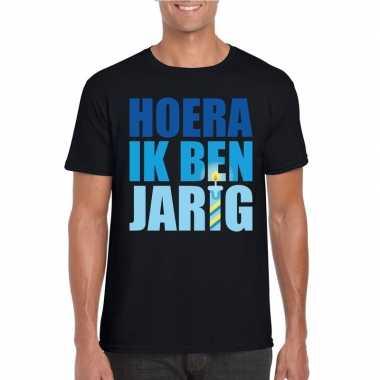 T-shirt zwart voor heren hoera ik ben jarig blauwe tekst