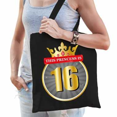 This princess is 16 verjaardag cadeau tas zwart voor dames