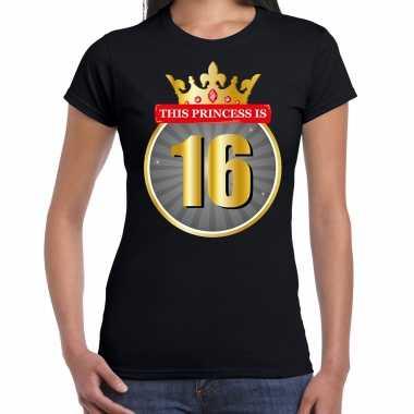This princess is 16 verjaardag t-shirt zwart 16 jaar voor dames