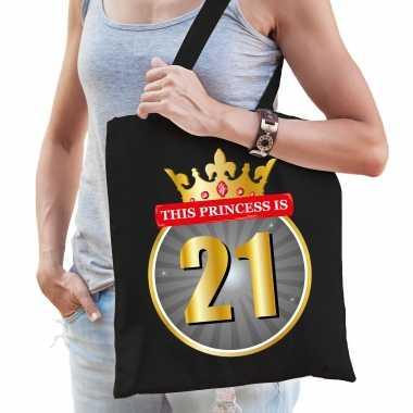 This princess is 21 verjaardag cadeau tas zwart voor dames