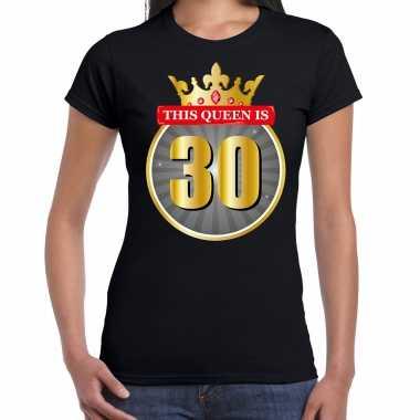 This queen is 30 verjaardag t-shirt zwart 30 jaar voor dames