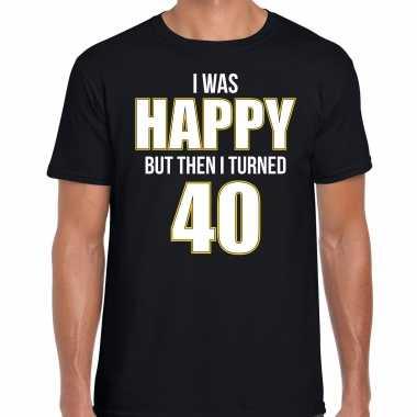 Verjaardag cadeau t-shirt 40 jaar - happy 40 zwart voor heren