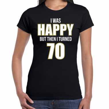 Verjaardag cadeau t-shirt 70 jaar - happy 70 zwart voor dames