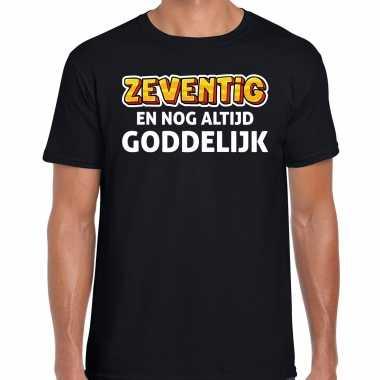 Verjaardag cadeau t-shirt 70 jaar - zeventig en goddelijk zwart voor heren