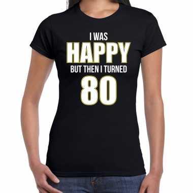 Verjaardag cadeau t-shirt 80 jaar - happy 80 zwart voor dames