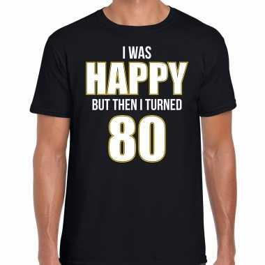 Verjaardag cadeau t-shirt 80 jaar - happy 80 zwart voor heren