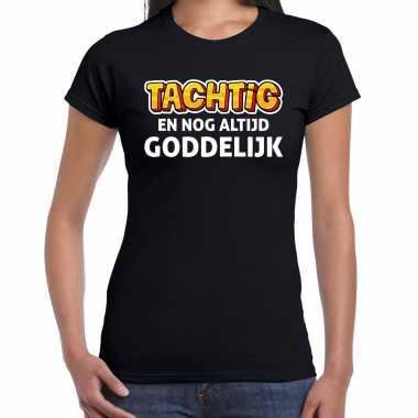 Verjaardag cadeau t-shirt 80 jaar - tachtig en goddelijk zwart voor dames