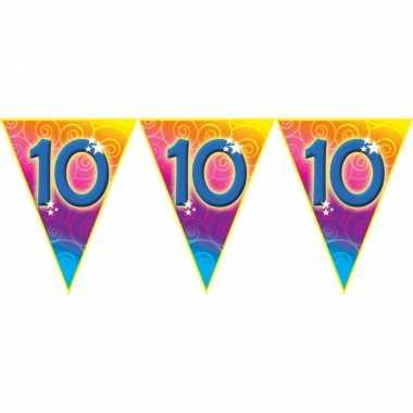 Verjaardag thema 10 jaar geworden feest vlaggenlijn van 5 meter