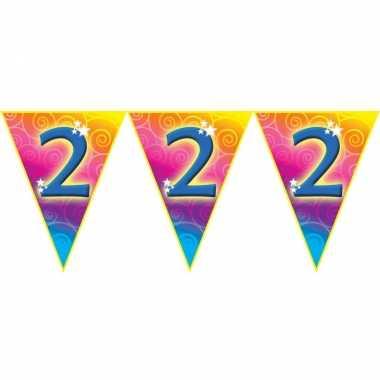 Verjaardag thema 2 jaar geworden feest vlaggenlijn van 5 meter