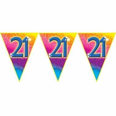 Verjaardag thema 21 jaar geworden feest vlaggenlijn van 5 meter
