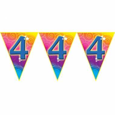 Verjaardag thema 4 jaar geworden feest vlaggenlijn van 5 meter