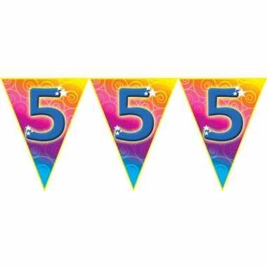 Verjaardag thema 5 jaar geworden feest vlaggenlijn van 5 meter