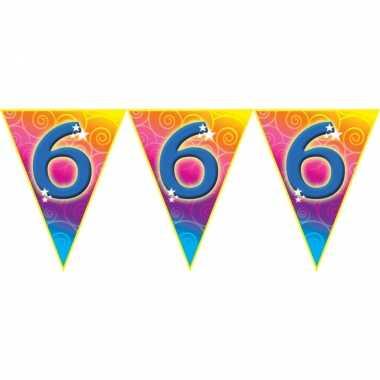 Verjaardag thema 6 jaar geworden feest vlaggenlijn van 5 meter