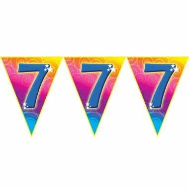 Verjaardag thema 7 jaar geworden feest vlaggenlijn van 5 meter