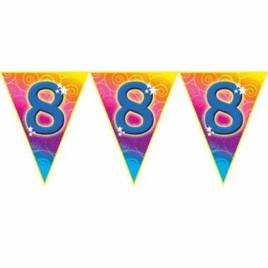 Verjaardag thema 8 jaar geworden feest vlaggenlijn van 5 meter