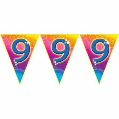 Verjaardag thema 9 jaar geworden feest vlaggenlijn van 5 meter
